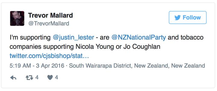 Trevor Mallard tweet